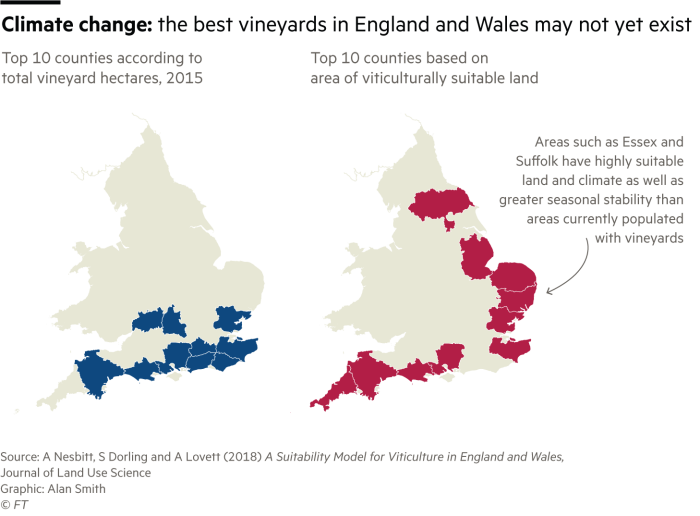 Two maps showing Top 10 counties according to total vineyard hectares, 2015 and Top 10 counties based on area of viticulturally suitable land. Areas such as Essex and Suffolk have highly suitable land and climate as well as greater seasonal stability than areas currently populated with vineyards.