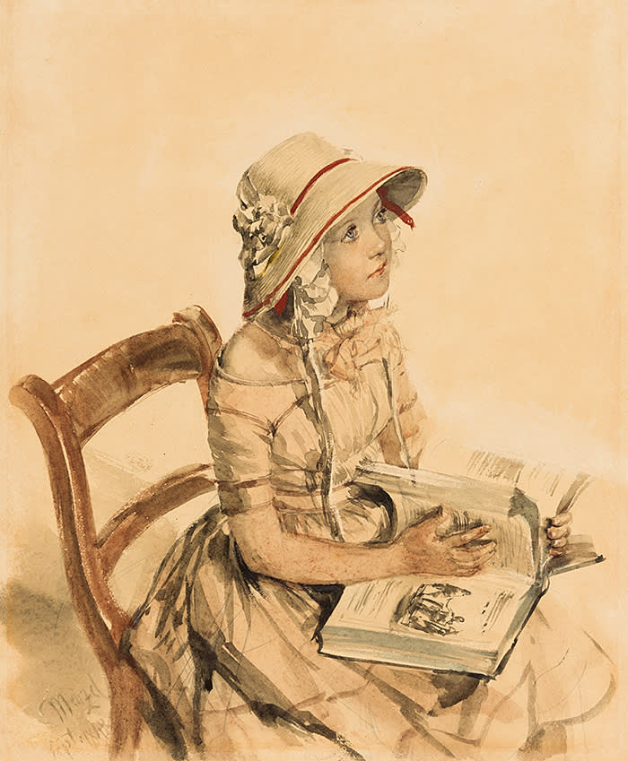 Ongpin, Stephen Ongpin Fine Art - Adolph von Menzel 1815-1905, Portrait of the Daughter of Dr. Karl von Maercker, Watercolour and gouache, over an underdrawing in pencil - LAW19S