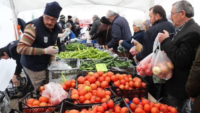 7308efadddc8 A tent set up by the Ankara municipality sells vegetables at a heavy  discount in a bid to force markets to lower prices © AFP