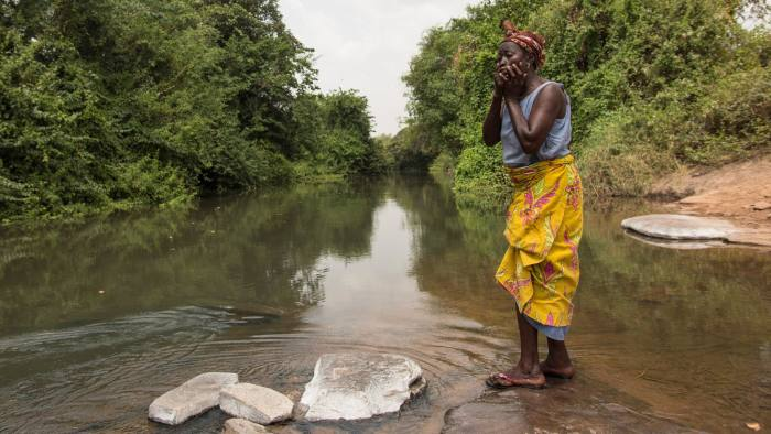 River close to Asubende where black flies breed. Black flies transmit the onchocerciasis parasite to humans. People from Asubende rely on this water to drink or irrigate their farming.