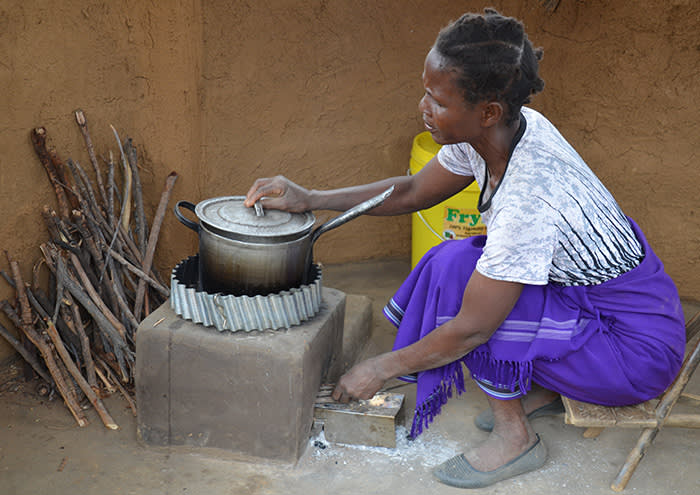 Newhall Ranch feature African Cookstove A woman prepares a meal on one of 20,000 energy-efficient cookstoves that have been installed in Zambia as part of FivePoint's commitment to combat climate change in California and the world. Each cookstove lasts approximately 7 to 10 years, and reduces 2 to 3 metric tons of CO2 per year. They also significantly reduce smoke inhalation and time spent by women and children gathering wood fuel by up to two hours per day. FivePoint has commissioned additional cookstoves to be installed in sub-Saharan African communities in the coming months.