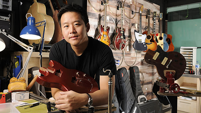 Kuok Meng Ru of BandLab, in his workshop and office in Singapore, on Friday, October 25, 2019. Photo: Munshi Ahmed for FT