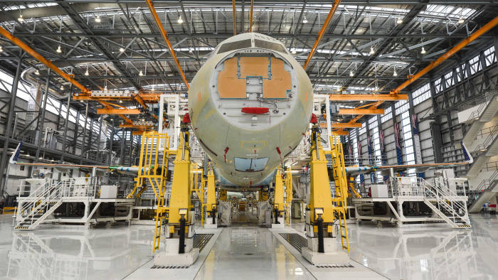 The nose of an Airbus A321 is seen on the eve of the inauguration of Airbus' first US manufacturing facility in Mobile, Alabama, on September 13, 2015. European jetmaker Airbus inaugurated its first US plant September 14 in a move to wrest a chunk of Boeing's domination of the domestic aircraft market including lucrative Pentagon contracts. Airbus plans to assemble 40-50 of its single-aisle A-320 family every year beginning in 2018 from the plant, built on the site of a World War II bomber support base. AFP PHOTO/NICHOLAS KAMM (Photo by NICHOLAS KAMM / AFP)