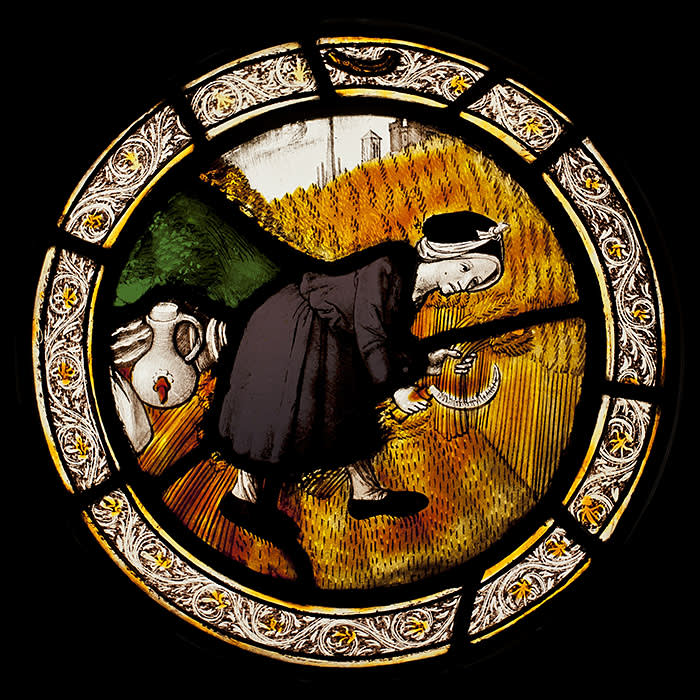Sam Fogg - A roundel showing a woman harvesting hay, c. 1525 - LAW19S