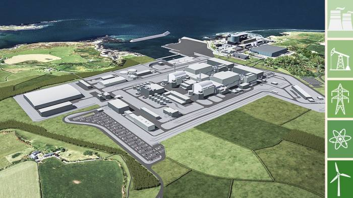 Undated Horizon handout image of an artists impression of a planned nuclear power station at Wylfa on Anglesey in north Wales. PRESS ASSOCIATION Photo. Issue date: Monday June 4, 2018. The Government is to consider direct investment to build a new multibillion-pound nuclear power station. See PA story INDUSTRY Nuclear. Photo credit should read: Horizon/PA Wire NOTE TO EDITORS: This handout photo may only be used in for editorial reporting purposes for the contemporaneous illustration of events, things or the people in the image or facts mentioned in the caption. Reuse of the picture may require further permission from the copyright holder.