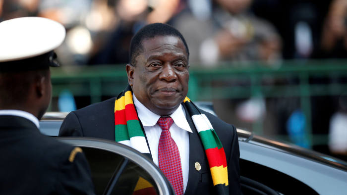 FILE PHOTO: Zimbabwe's President Emmerson Mnangagwa arrives for the inauguration of Cyril Ramaphosa as South African president, at Loftus Versfeld stadium in Pretoria, South Africa, May 25, 2019. REUTERS/Siphiwe Sibeko/File Photo