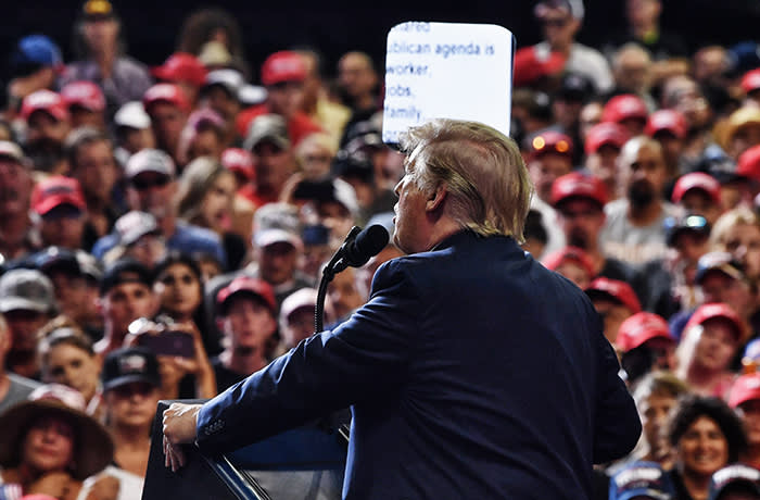 TOPSHOT - US President Donald Trump (C) addresses supporters during a campaign rally in Rio Rancho, New Mexico, on September 16, 2019. (Photo by Nicholas Kamm / AFP)NICHOLAS KAMM/AFP/Getty Images