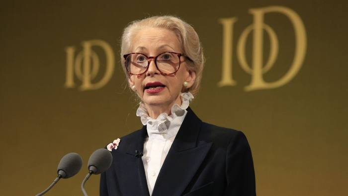 Lady Barbara Judge, IoD Chairman, speaks to delegates during the Institute of Directors convention held at the Royal Albert Hall, London.