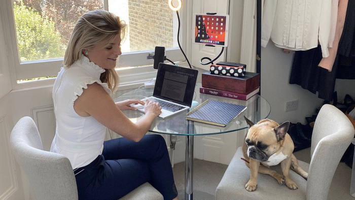 Hilary Lennox, a family law barrister at 5 St Andrew's Hill in London and her French bulldog, Willow.