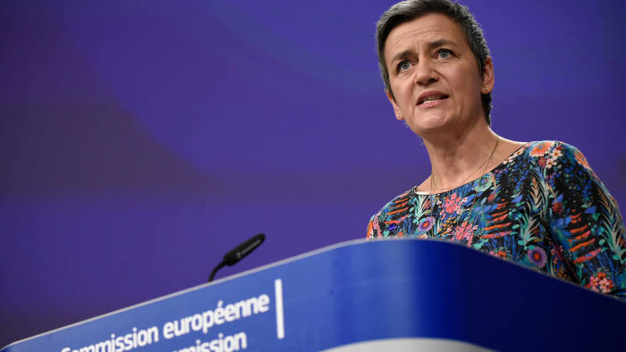 EU Commissioner of Competition Margrethe Vestager gives a joint press on Antitrust : Google online search advertising at the EU headquarters in Brussels on March 20, 2019. - The EU's powerful anti-trust regulator slapped tech giant Google with a new fine on March 20, 2019 over unfair competition, in Europe's latest salvo against Silicon Valley. (Photo by John THYS / AFP) (Photo credit should read JOHN THYS/AFP via Getty Images)