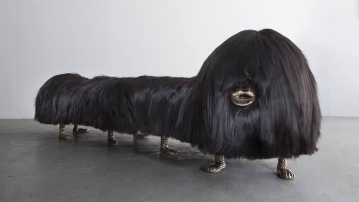 'Uma Worm-an' bench (2018), made of cast bronze and black Icelandic sheep skin
