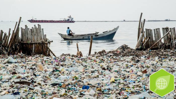 JAKARTA, INDONESIA - MARCH 17: A pile of garbage contact with the open sea at fishermen village Muara Kamal in Jakarta, Indonesia on March 17, 2018. Indonesia has 21% of the Asia-Pacific's total water supply, only 70% of the total population has access to clean water and sanitation. (Photo by Anton Raharjo/Anadolu Agency/Getty Images)