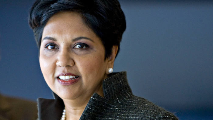 PepsiCo Chairman Indra Nooyi Speaks At Investor Meeting...Indra Nooyi, chairman and chief executive officer of PepsiCo Inc., speaks to reporters following a PepsiCo investor meeting at Yankee Stadium in New York, U.S., on Monday, March 22, 2010. PepsiCo, the world's second-largest soft-drink maker, redesigned its beverage packaging and marketing in 2009, and purchased its two largest drink distributors to boost sales in the U.S. and take greater control over delivery. The company, which has relied on emerging markets for soft-drink growth, is pushing no-calorie offerings overseas. Photographer: Jin Lee/Bloomberg