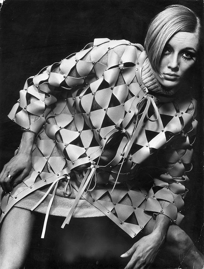 The triangular pieces of leather are nailed together in this coat designed by Paco Rabanne giving an appearance of chain-mail armour. (Photo by Keystone Features/Getty Images)