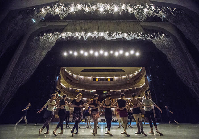 Dancers rehearse Swan Lake on stage at the Mariinsky II Theatre in Moscow