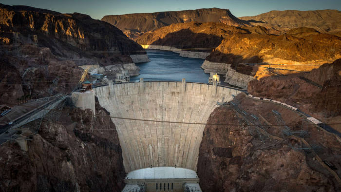 This April 13, 2014 view shows Hoover Da...This April 13, 2014 view shows Hoover Dam, a concrete arch-gravity dam in the Black Canyon of the Colorado River on the border between the US states of Arizona and Nevada. Hoover Dam ,finished in 1936, impounds Lake Mead, the largest reservoir in the United States by volume. The dam's generators provide power for public and private utilities in Nevada, Arizona, and California. Hoover Dam is a major tourist attraction; nearly a million people tour the dam each year. AFP PHOTO/JOE KLAMARJOE KLAMAR/AFP/Getty Images