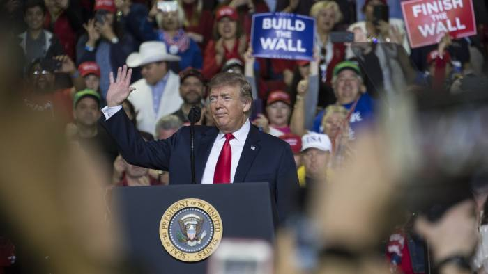 U.S. President Donald Trump greets the audience during a rally in El Paso, Texas, U.S., on Monday, Feb. 11, 2019. Trumpand prospective Democratic challengerBeto O'Rourketook part in dueling rallies in Texas on Monday, with each using the president's proposed border wall as an early proxy for the 2020 election. Photographer: Adria Malcolm/Bloomberg