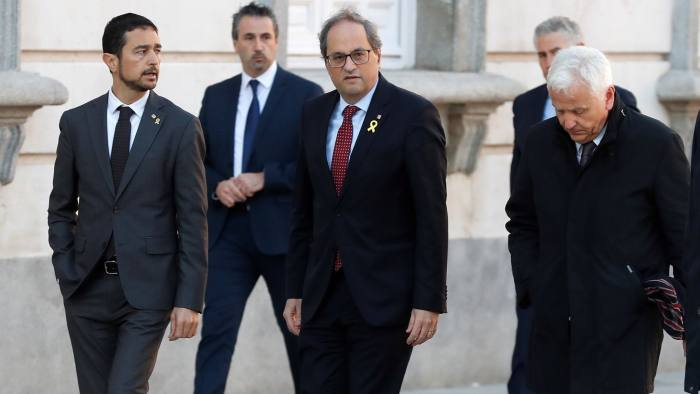 Mandatory Credit: Photo by ZIPI/EPA-EFE/REX/Shutterstock (10102208r) Catalan regional President Quim Torra (C) arrives to the Supreme Court in Madrid, Spain, 12 February 2019, to attend the so-called 'process' trial against 12 Catalan pro-independence politicians involved in the illegal referendum held back in 2017. The trial against the Catalan politicians involved in the illegal pro-independence referendum kicks off in the Spanish capital with nine of the 12 pro-independence leaders accused of rebellion and embezzlement for their role in the Catalan illegal independence referendum back in 2017, while the other three accused face disobedience charges. More than 500 people have been called to declare, some of them former members of the Spanish Government such as former Primer Minister Mariano Rajoy. Others are not identified. Trial against Catalan pro-independence politicians kicks off, Madrid, Spain - 12 Feb 2019