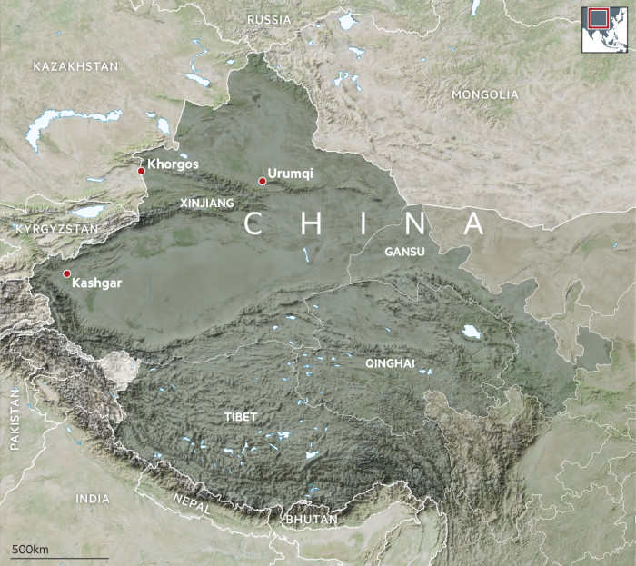 Xinjiang, China map