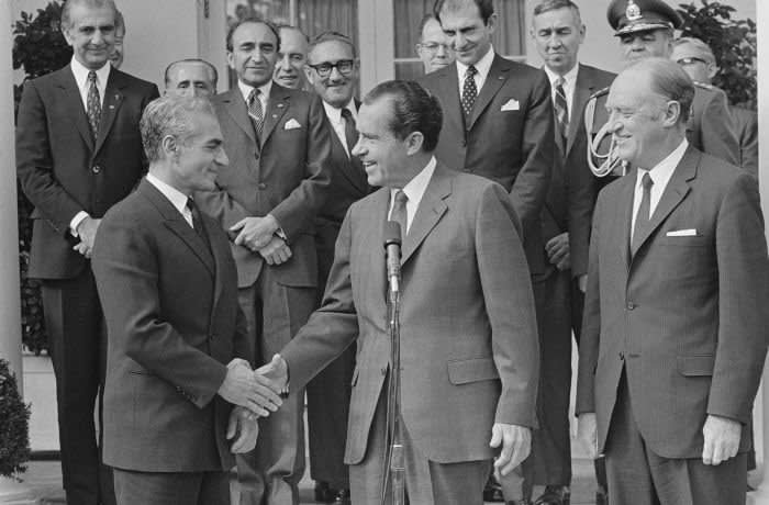 President Nixon Shaking Hands with Shah of Iran (Photo by © Wally McNamee/CORBIS/Corbis via Getty Images)