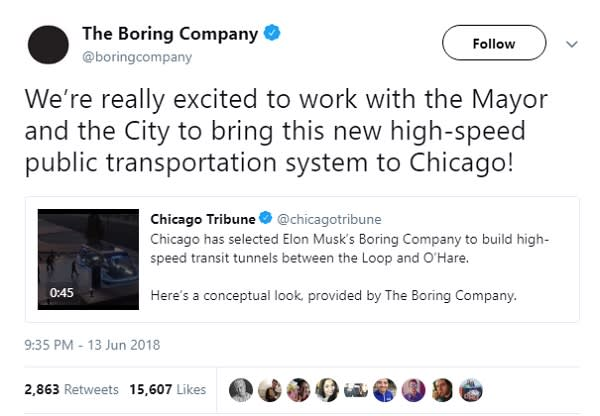 Elon Musk wins contract to build high-speed Chicago rail