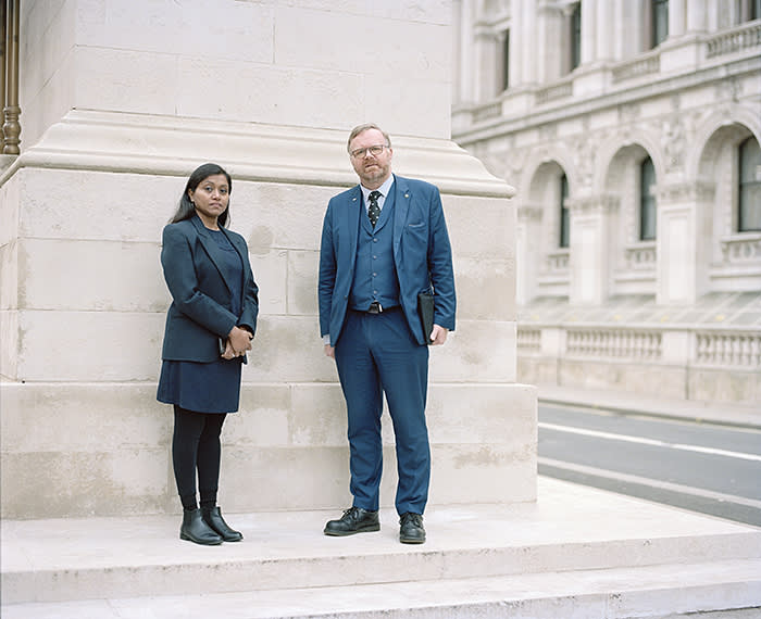 Nidhin Chand with her partner Martyn Day MP, outside his Westminster office
