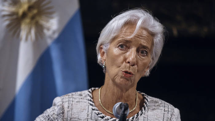 International Monetary Fund (IMF) Managing Director, Christine Lagarde speaks during a news conference with Argentina's Treasury Minister Nicolas Dujovne, unseen, at the Consulate of Argentina, Wednesday, Sept. 26, 2018. Argentina's Treasury Minister Nicolas Dujovne said Wednesday that Argentina has secured an additional $7.1 billion in funding, in addition to the $50 billion in financing included in a deal worked out with the IMF in June after Argentina was battered by a currency crisis and double-digit inflation. (AP Photo/Andres Kudacki)