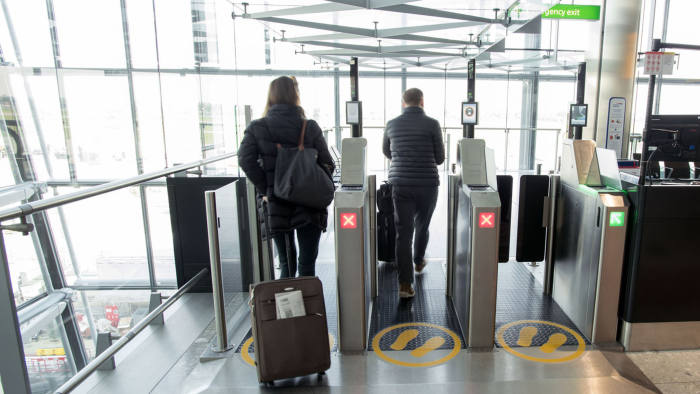 Heathrow Airport, Terminal 5A, airside, Biometric screening automated self-boarding gates, April 2017. - supplied