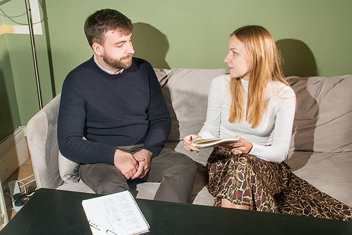 Gavin Jackson with his fiancée Gabriele. Keen to do his fair share at home, Jackson decided that they should put the equality of their relationship to the test by using the techniques of modern social science – 'time-use' surveys