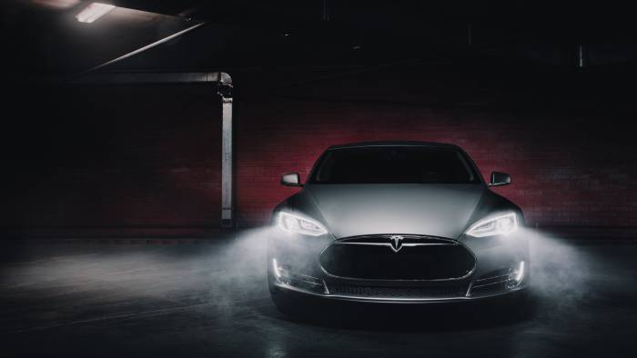 Moscow, Russia - January 10, 2018: Electric car Tesla Model S P85 wrapped in grey color matte vinyl at underground parking car,color,electric,grey,matte,model,p85,parking,tesla,underground,vinyl,auto,automobile,automotive,concept,contemporary,dark,design,editorial,filter More ID 110501370 © Ivan Kurmyshov | Dreamstime.com 1 1 0