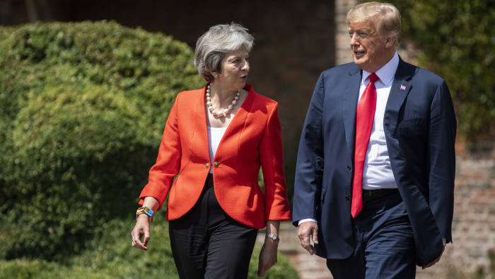 AYLESBURY, ENGLAND - JULY 13: Prime Minister Theresa May and U.S. President Donald Trump hold a joint press conference at Chequers on July 13, 2018 in Aylesbury, England. US President, Donald Trump, held bi-lateral talks with British Prime Minister, Theresa May at her grace-and-favour country residence, Chequers. Earlier British newspaper, The Sun, revealed criticisms of Theresa May and her Brexit policy made by President Trump in an exclusive interview. Later today The President and First Lady will join Her Majesty for tea at Windosr Castle. (Photo by Dan Kitwood/Getty Images)