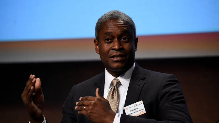 FILE PHOTO: President and Chief Executive Officer of the Federal Reserve Bank of Atlanta Raphael W. Bostic speaks at a European Financial Forum event in Dublin, Ireland February 13, 2019. REUTERS/Clodagh Kilcoyne/File Photo