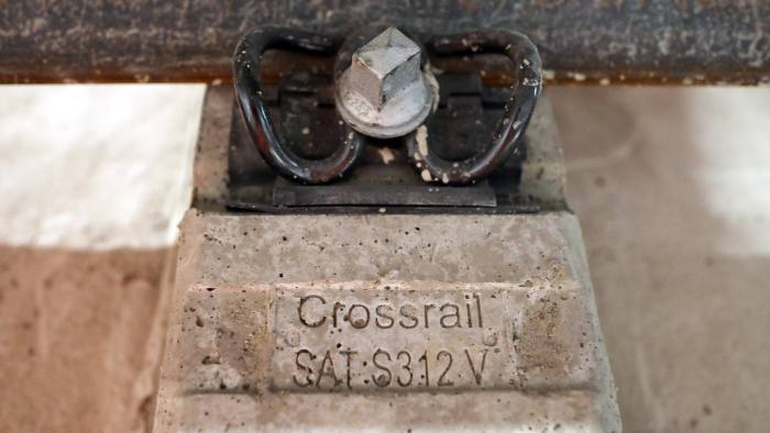 A rail clip sits on a concrete mount on the track in a tunnel near Whitechapel station during an event to celebrate the completion of the permanent track on the Elizabeth line in London, U.K., on Thursday, Sept. 14, 2017. Crossrail, which will be known as the Elizabeth Line once it's up and running, hasn't yet set fares, but transit agencyTransport for Londonhas indicated they will be significantly less than Heathrow Express with a charging structure more akin to the Tube. Photographer: Chris Ratcliffe/Bloomberg