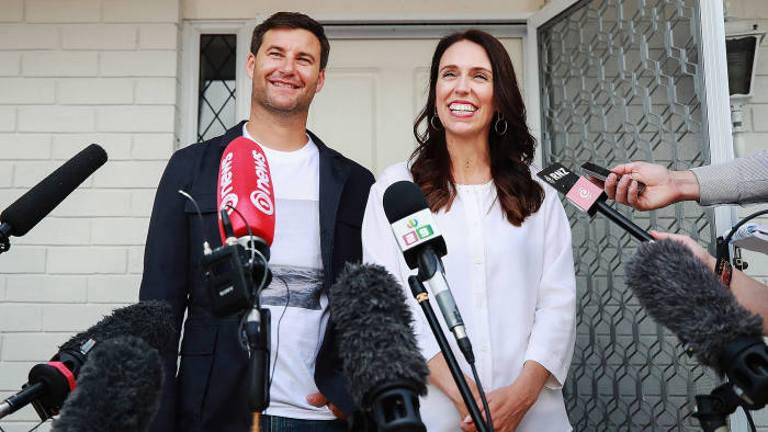 AUCKLAND, NEW ZEALAND - JANUARY 19: Prime Minister Jacinda Ardern and her partner Clarke Gayford speak to the media January 19, 2018 in Auckland, New Zealand. Jacinda Ardern and her partner Clarke Gayford are expecting their first child in June 2018. Deputy Prime Minister Winston Peters will take on Prime Ministerial duties for six weeks after the baby is born. (Photo by Hannah Peters/Getty Images)