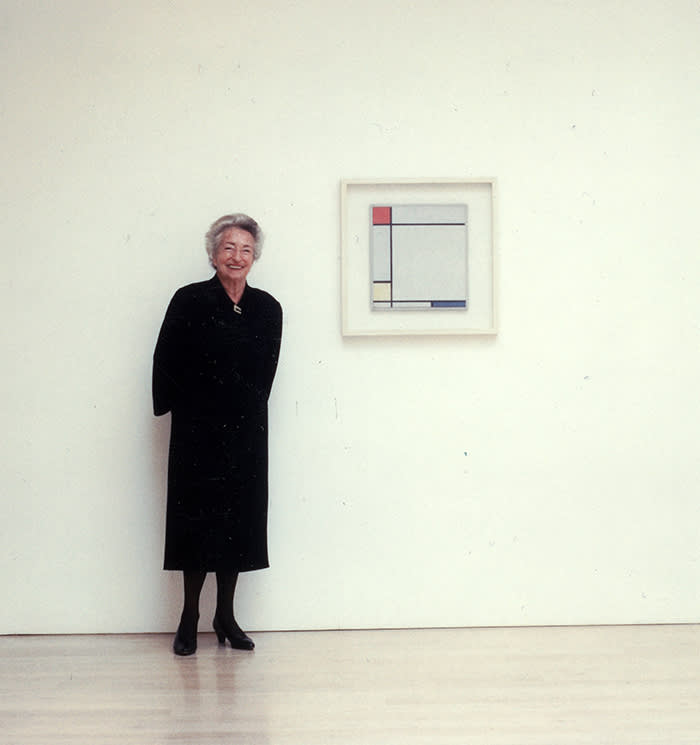 Annely Juda photographed in her gallery, 2004 . copyright Annely Juda Fine Art London