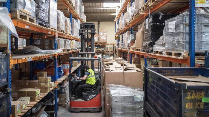 Securon in Amersham. They are stockpiling components that they use to make seatbelts in case of a no deal Brexit. Picture shows a warehouse full of twice the normal amount of components.