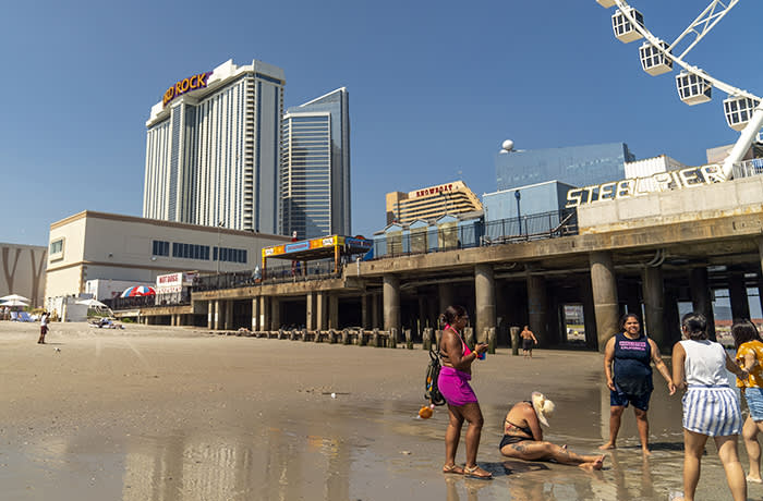 ATLANTIC CITY, NJ - JUNE 29: The Hard Rock Hotel and Casino, previously the Trump Taj Mahal, stands on June 29, 2018 in Atlantic City, New Jersey. The Hard Rock is one of two new casinos that opened this week in the seaside resort, as residents seek an economic upswing. (Photo by Jessica Kourkounis/Getty Images)