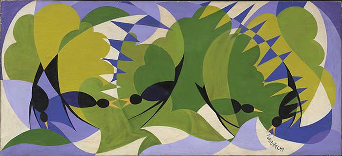 FUTURIST BLACKBIRDS GIACOMO BALLA (Turin, 1871 - Rome, 1958) Oil on canvas 66 x 146 x 8 cm (26 x 57.5 x 3.1 in.) Signed lower right 'FUTUR BALLA' and on reverse, inscripted by Giacomo Balla 'Merli Futuristi / Balla / Via Paisiello Rome' Rome - circa 1924 EXHIBITOR: BOTTEGANTICA