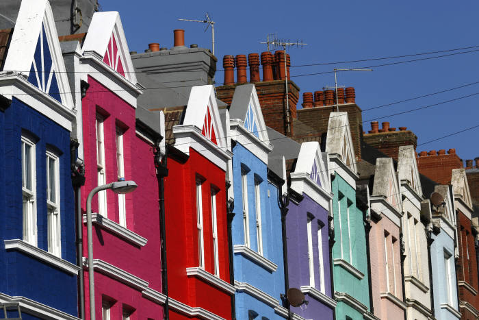 Brightly painted residential properties stand in Brighton, U.K., on Friday, March 4, 2016. U.K. house prices rose for an eighth month in February as rental investors rushed to purchase homes before a tax increase, Nationwide Building Society said. Photographer: Luke MacGregor/Bloomberg