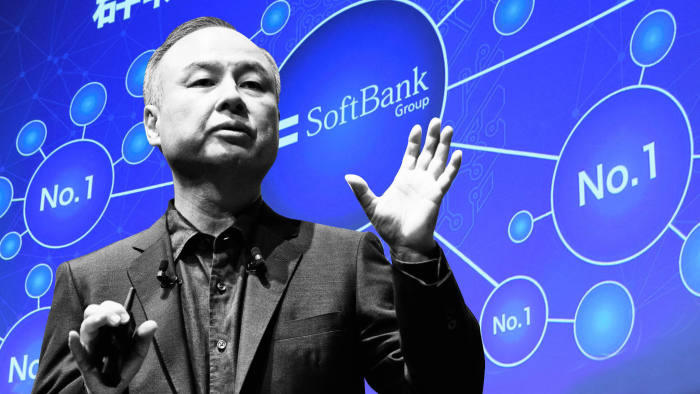 FTGraphic Masayoshi Son, chairman and chief executive officer of SoftBank Group Corp., speaks during the SoftBank World 2019 event in Tokyo, Japan, on Thursday, July 18, 2019. The founders of Southeast Asian ride-hailing giant Grab, indoor farming startup Plenty, Indian hotel chain OYO Rooms and payments service Paytm took the stage at an annual SoftBank conference to explain how artificial intelligence helps them stay on top in their respective fields. Photographer: Akio Kon/Bloomberg