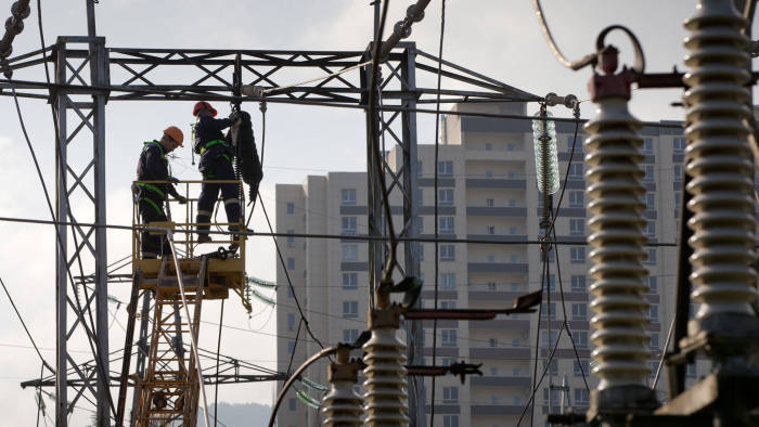 CRIMEA, RUSSIA NOVEMBER 17, 2017: Electricians changing transformers at an electrical substation operated by the Krymenergo power generating company in the town of Yalta. Sergei Malgavko/TASS (Photo by Sergei Malgavko\TASS via Getty Images)