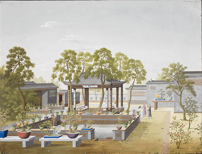 Fig. 3. 'Two drawings of the garden of a wealthy Chinese merchant', Gouache, unknown artist, Guangzhou, 1800–1805. Reference: Add. Or. 2127 is the first painting of a set of two, held in Visual Collections, British Library. ©The British Library Board Visual Collections, British Library FOR THIS ONE YOU NEED TO CONTACT THE BRITISH LIBRARY