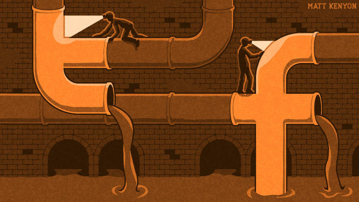 illustration of a sewer with twitter and facebook logos
