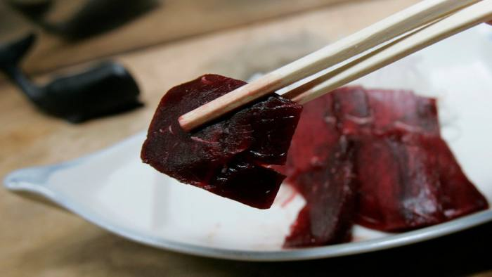 FILE PHOTO: Whale sashimi is pictured at a Japanese whale meat restaurant named 'Hogeisen', meaning whaling ship, in Tokyo January 16, 2008. REUTERS/Yuriko Nakao/File Photo