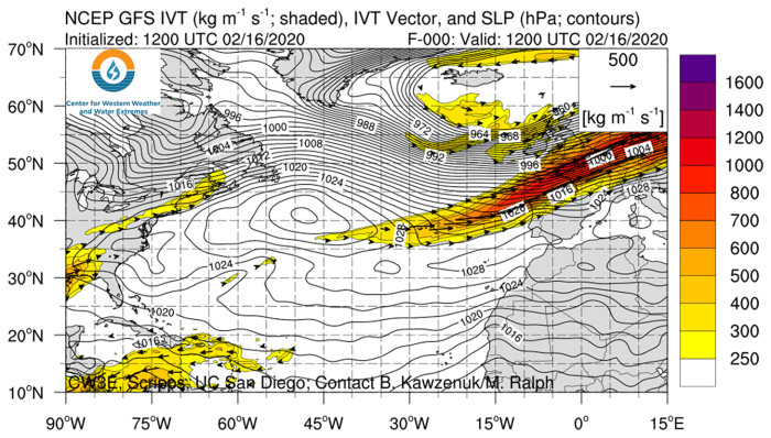 """Modelling based on the work of Professor Martin Ralph at the Scripps Institution of Oceanography in San Diego shows the """"atmospheric river"""" associated with Storm Dennis on Sunday 16 February (the darker the colour the higher the water content)"""