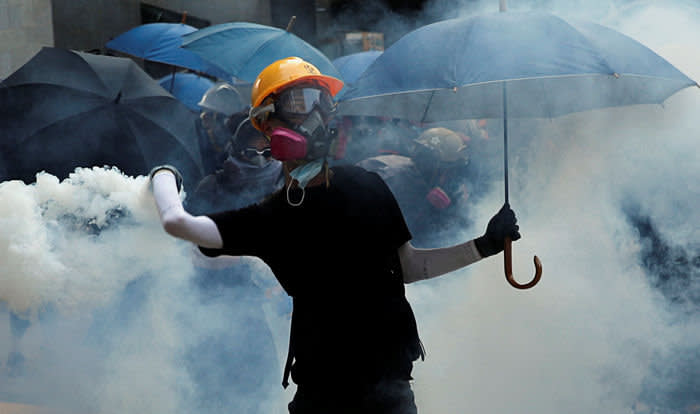 Anti-government protest in Hong Kong last month