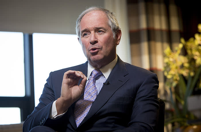 Stephen Schwarzman, chairman and chief executive officer of Blackstone Group LP, speaks during a Bloomberg Television interview in New York, U.S., on Tuesday, June 4, 2013. Blackstone Group LP, the second-biggest U.S. office landlord, has said it expects strong interest from sovereign-wealth funds for properties it plans to sell starting this year. Photographer: Scott Eells/Bloomberg