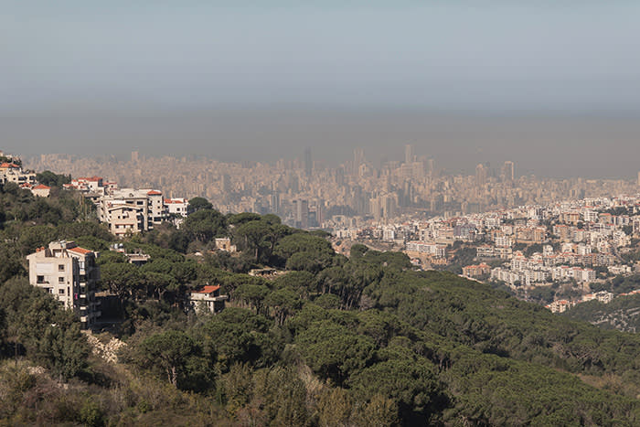 Picture by Charlie Bibby/Financial Times Financial Times seasonal appeal. Habitat for Humanity in Lebanon with Chloe Cornish. Picture shows: Beirut from Mount Lebanon. For FT magazine.