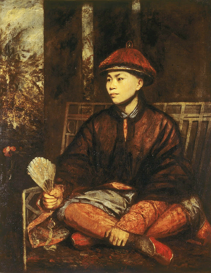 Fig. 3. Joshua Reynolds, Portrait of Whang Atong, 1776, now at Knole. ©National Trust Images/Horst Kolo Oil painting on canvas, Huang Ya Dong (Wang-y-Tong) (b. c. 1753- fl. in England 1770/76) by Sir Joshua Reynolds PRA (Plympton 1723 - London 1792), 1776. A full-length portrait, in Chinese costume, sitting on a Chinese-style bench with his legs crossed, looking to the left, holding a fan in his right hand. Around 1770, a Chinese boy called Huang Ya Dong was brought to England from Guangzhou (Canton) by John Bradby Blake (1745-1773), an employee of the East India Company. Blake was a keen naturalist and brought the boy to England for his knowledge of the propagation and uses of the Chinese plants. After Blake died his father, Captain John Blake, looked after Huang for a time. Huang visited the Royal Society (1775), advised Mrs Delaney and the Duchess of Portland on Chinese plants, gave Josiah Wedgewood information about the production of Chinese porcelain and explained the principles of acupuncture to the Physician Andrew Duncan. By the time the Knole portrait was painted (1776) Huang had entered the household of John Frederick Sackville, 3rd Duke of Dorset (1745-1799), a contemporary of John Bradby Blake at Westminster School. Huang became a page to the Duke's mother and was educated at Sevenoaks School, but there are no other records of his subsequent life.