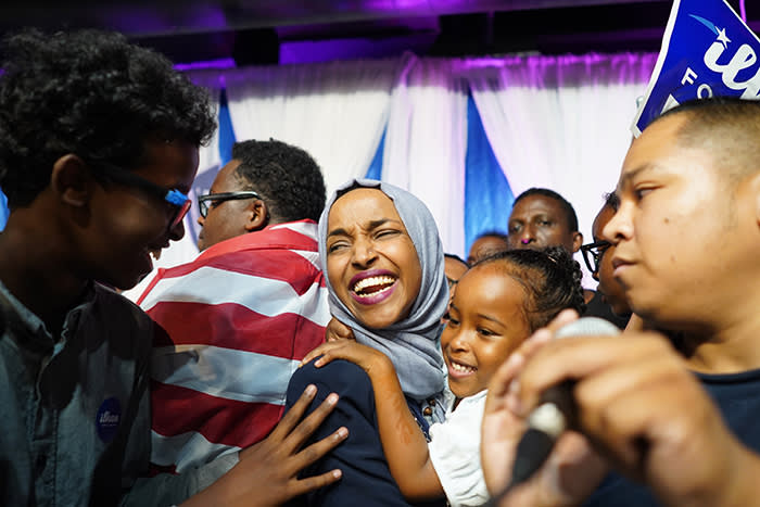 US First Somali-American legislator Ilhan Omar celebrates after winning a Democratic primary in Minnesota's 5th Congressional District in Minneapolis, Us, 14 August 2018. Omar is poised to become the first Muslim woman in the US Congress after her election victory for the Democrats. Photo: Mark Vancleave/Minneapolis Star Tribune/dpa
